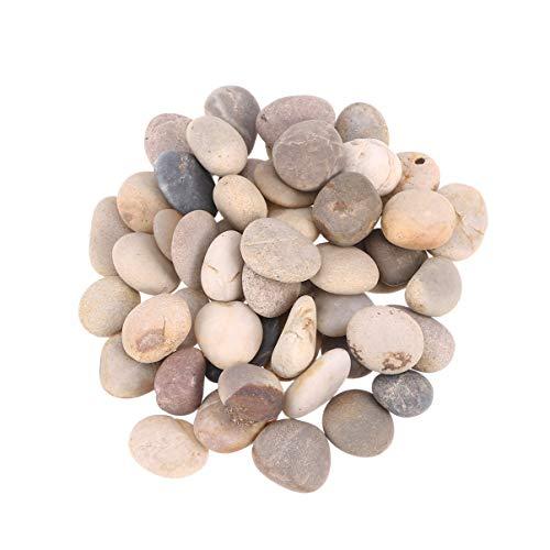 HEALLILY 50 Stück 1–3 cm Malsteine, natürliche Steine zum Selbermalen, glatte unpolierte Steine, verschiedene Größen, Kieselsteine für Kinder, zum Zeichnen (gemischte Farben)