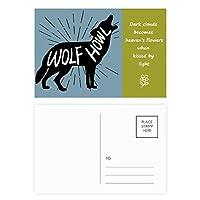 ブラックウルフの動物のシルエットのナチュラル 詩のポストカードセットサンクスカード郵送側20個