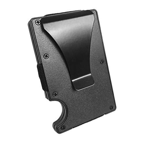 Tarjetero para Tarjetas de crédito de Hombre de Aluminio Fino portatarjetas de crédito de Metal Billetera de Metal con función antiescaneo (Color Negro)