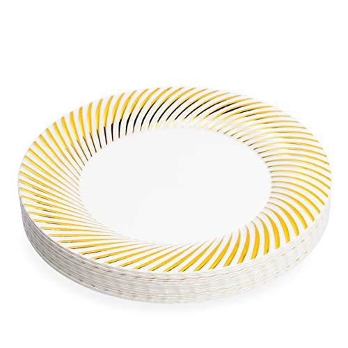 Matana 20 Platos de Plástico Duro Blanco con Borde Dorado, 26cm -...