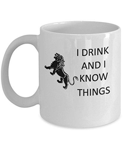 I Drink and I Know Things – Glas-Kaffeetasse, lustige Tasse, Geschenk für Game of Thrones Fans