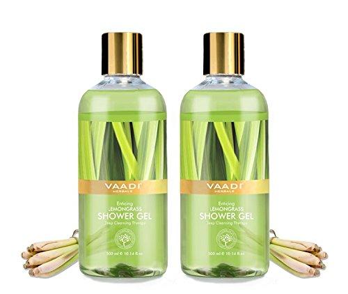 Duschgel - sulfatfrei - Peeling - entgiftet und pflegt die Haut - Körperpflege für Männer und Frauen - 300 ml - Vaadi Herbals (Verführerisches Zitronengras) (2 Flaschen)