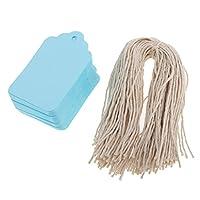 クラフト紙 空白カード しおり ペーパータグ 荷物タグ DIY 手作り - 青