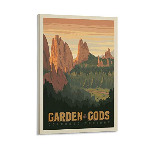 kebey Retro Travel Garden Of The Gods, Colorado Canvas Art Poster and Wall Art Picture Print Modern Family bedroom Decor Posters 12x18inch(30x45cm)