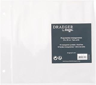 Toga AL11E 10 pochettes pour album de scrapbooking, Plastique, Transparent, 20 x 20 x 0,5 cm