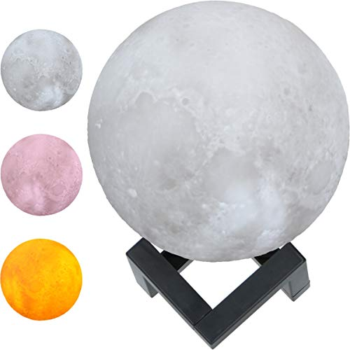 Mond Lampe mit 3D Oberfläche leuchtet in 3 Farben Mondlicht Nachtlicht Nachtlampe (kabellos) (12cm)