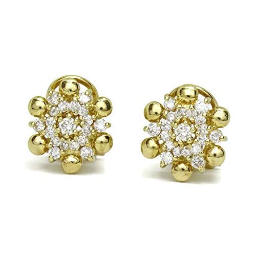 Pendientes de diamantes de 0.82cts y oro amarillo de 18cts. Cierre omega 1.20cm de diámetro