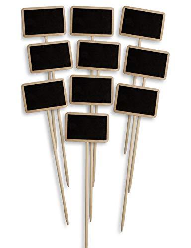 HomeTools.eu® - 10x Klassische Holz Pflanz-Schilder, Beet Balkon Kräuter-Garten Blumen-Kübel, Landhaus, beschreibbar, 25cm, 10er Set