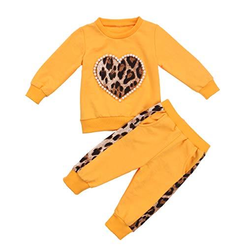 Carolilly 2Pz Felpa Completi da Bambina Neonate con Perla e Stampa Leopardata Top Sportivo con Cappuccio Pantaloni Leggings Abiti Set Pullover Tuta (Giallo A, 3-4 Anni)