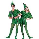 hengGuKeJiYo Disfraz de Peter Pan para niños Adultos Disfraz de Halloween para Hombres Mujeres Elfo Verde Disfraces de Navidad para Padres e Hijos con Medias