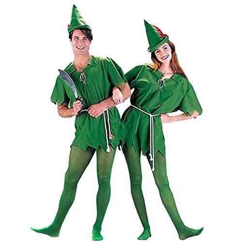 hengGuKeJiYo Erwachsene Kinder Peter Pan Kostüm Halloween Kostüm für Herren Damen Green Elf Eltern-Kind Weihnachtskostüme mit Strumpf