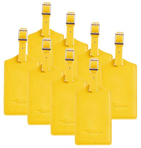 8 Pack Leather Luggage Travel Bag Tags by Travelambo Yellow