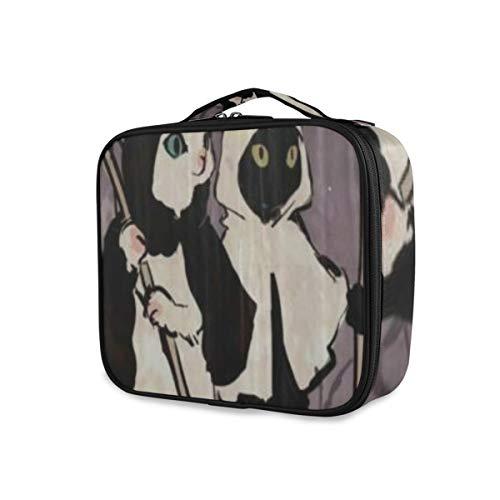 SUGARHE Gato Demonio De Halloween Calabaza para Dulces,Neceser Maquillaje,Bolsa Cosméticos Organizador Brochas Maquillaje Estuches Portátil
