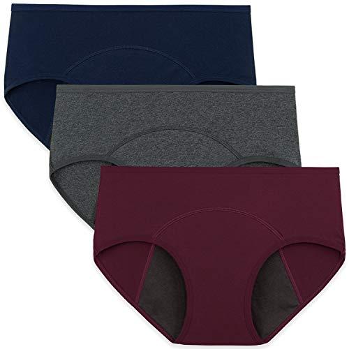 INNERSY Periodenslips Frauen Menstrual Panties Baumwolle Teenager Mädchen Slips Mehrpack 3 (M, Weinrot/Marine/Grau-dunkler Schritt)