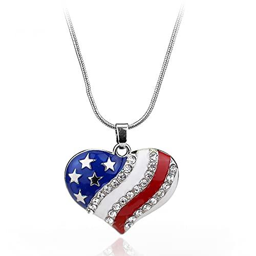 Bandera americana de estrellas y rayas Corazón Colgantes Collares Collar de cadena de eslabones