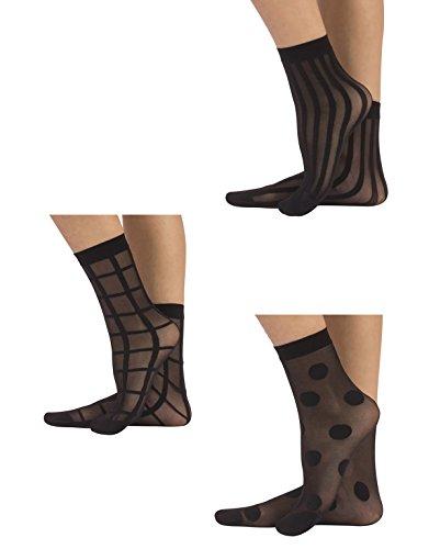 CALZITALY 3 Paar Damen Gemusterte Socken | Feine Elegante Socken mit Muster | Fashion Söckchen | Punkten, Streifen, Karierte | Schwarz | Einheitsgrösse | Made in Italy (Schwarz, Einheitsgröße)