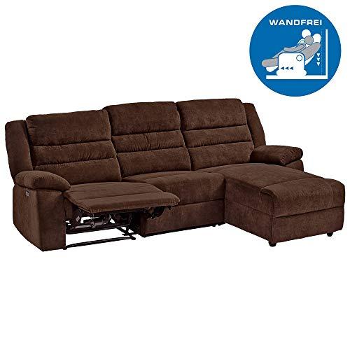 RABURG Fernsehsofa 3-Sitzer, elektrische Relaxfunktion - Wohnzimmer Couchganitur mit bequemer Liegefunktion, Ecksofa aus Mikrofaser, Dunkelbraun
