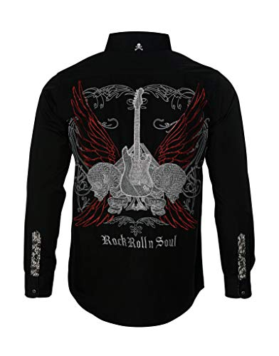 Men's Long Sleeve Embroidered 'Love Hate' Button Down Shirt Black 707B (XL)