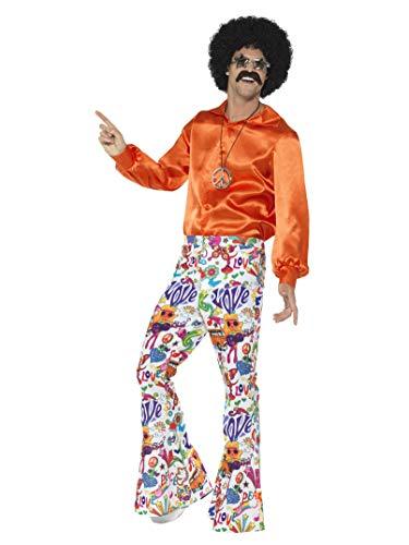 Smiffys-44907L Pantalones acampanados buena onda años 60, para hombre , multicolor, L-Tamaño 42'-44' (Smiffy's 44907L) , color/modelo surtido