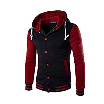 UOFOCO Winter Slim Hoodie Warm Hooded Men Coat Jacket Outwear Sweater Sweatshirt Red