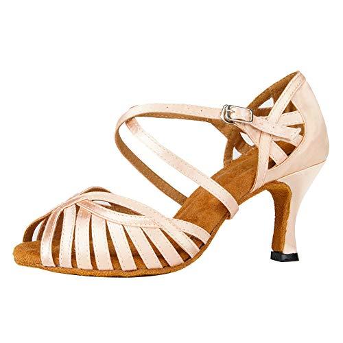SWDZM Zapatos de Baile Latino para Mujer Tango Salsa Samba Bachata Baile de Salón Zapatos,Tacco-7.5cm,Modelo-YCL380,Desnudo,37EU
