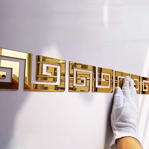 Acrylic Mirror Wall Stickers Geometric Greek Key Pattern Acrylic Plastic Mirror DIY Wall Art Decor ,5pcs Gold A