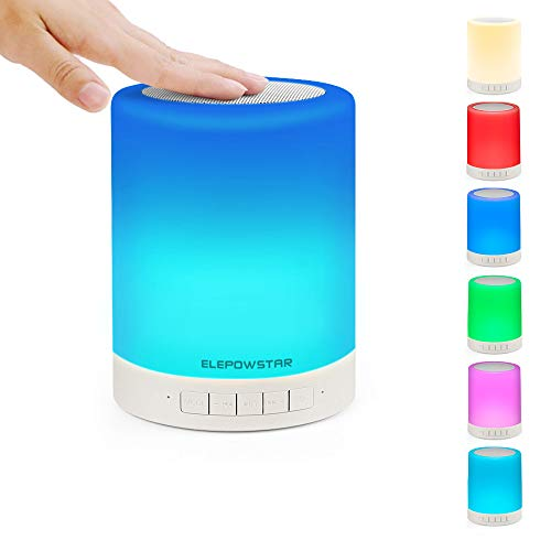 ELEPOWSTAR Smart Touch Night Light with Bluetooth Music Speaker, Dimmable Color Changing RGB Bedside...