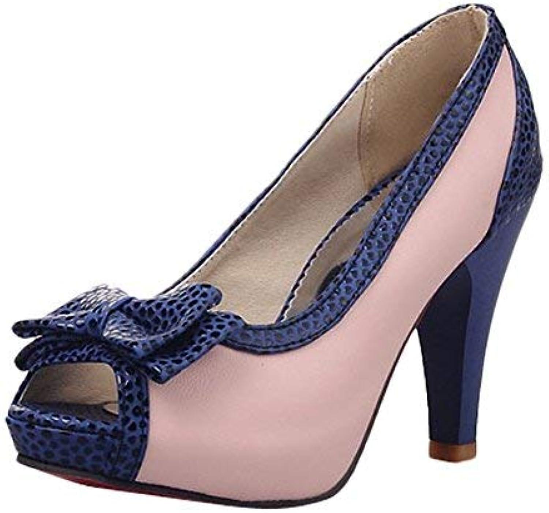 Carolbar Women's Assorted colors Peep Toe Bows Platform High Heels Pumps shoes (10, Pink)