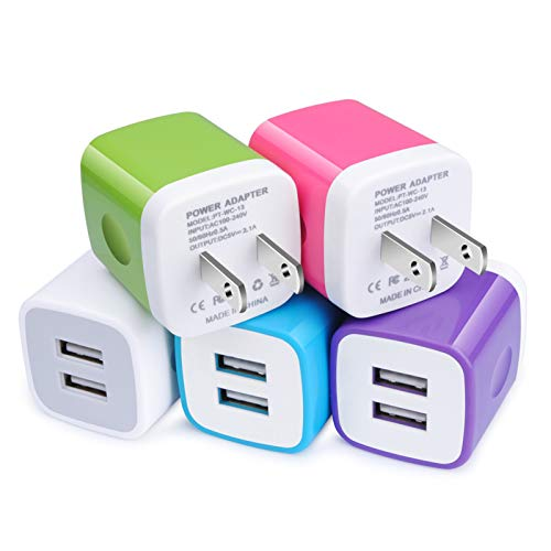 USB Charger Plug, Wall Charger, Charging Block, 5-Pack 2.1A/5V Portable Power Cube Charger Adapter Compatible with iPhone 11/11 Pro Max/Xs Max/Xs/XR/X/8/7/6S/6 Plus, Samsung, LG, Moto, Android Phone
