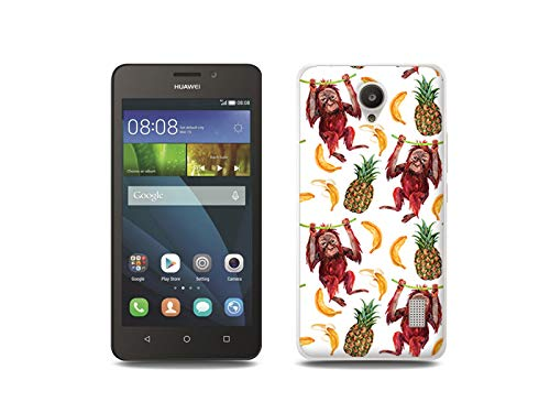 etuo Handyhülle für Huawei Y635 - Hülle, Silikon, Gummi Schutzhülle - Orang-Utans & Bananen