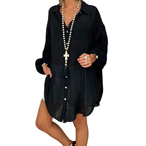 HZQIFEI Donna Mare Camicia Vestito da Spiaggia Copricostume da Bagno Scollo a V Camicetta Bikini Cover Up Manica Lunga (Nero, XL)