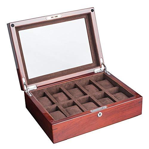 KCSds 10 Slots Piano Lackieren Palisander mit Glas Skylight Uhrenbox Schmuckaufbewahrungsbehälter-Kasten-Speicher-Organisatoren Weihnachten, Geburtstag, (Color : A)