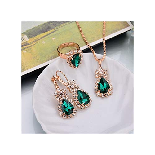 ZYQXB 6 Collar Colgante de Color/Pendientes/Anillos (Metal Color : Green)
