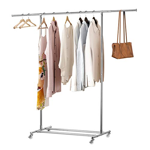 KINGSO Clothing Garment Rack with Wheels Heavy Duty Clothes Rolling Rack Commercial Grade Collapsible Clothing Rack Expandable Hanging Rod & Adjustable Bars Total Load Capacity 200LB Chrome