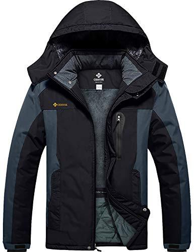 GEMYSE Chaqueta de esquí Impermeable de montaña para Hombre Abrigo de Invierno al Aire Libre de Lana a Prueba de Viento con Capucha (Gris Negro,XL)