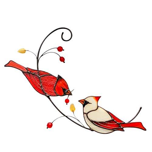 WOTEG Red Cardinal Vogel Geschenke, Kardinal Vogel Buntglas Ornament, Vogel Fenster Aufkleber Anti Kollision Transluzent, Buntglasscheiben Für Fenster