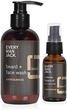 Every Man Jack 1 ounce Sandalwood Beard Oil 6 7 ounce Sandalwood Beard and Face Wash BUNDLE product image