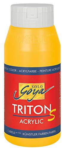 Kreul 17303 - Solo Goya Triton S Acrylfarbe maisgelb, 750 ml Flasche, schnell trocknend mit Glanzeffekt, Farbe auf Wasserbasis, in Studioqualität, vielseitig einsetzbar, gut deckend und ergiebig