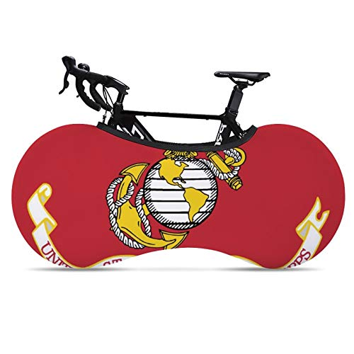 Owen Moll Bike Covers Dustproof-Elastic Indoor Bicycle Storage Bag for Storage and Transportation Bike Wheel Cover Suitable for Tires of 24-26 Inches (Flag of The United States Marine Corps)