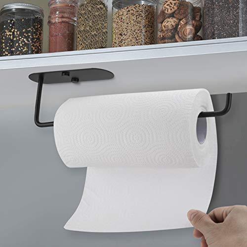 LOMOFI Portarrollos para Papel higiénico,2 in 1 Soporte de Papel de Acero Inoxidable,Portarrollos Baño Autoadhesivo,con 2 Tornillos,Soporte de Papel higiénico para Cocina de baño,Negro