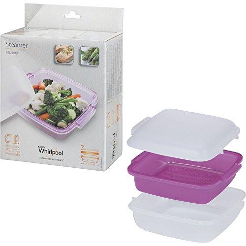 Whirlpool STM008 – Accessoire de cuisson pour Micro-ondes (cuiseur vapeur, Violet, Blanc, Blanc)