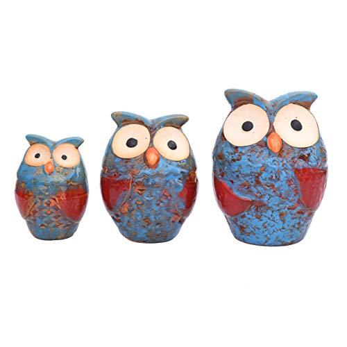 Flanacom Dekofiguren Set aus Keramik - Tierfiguren für Innen und Außen - Deko-Artikel für Wohnung & Garten - Tier Gartendeko Wohnzimmerdeko (Eulen 3er Set)