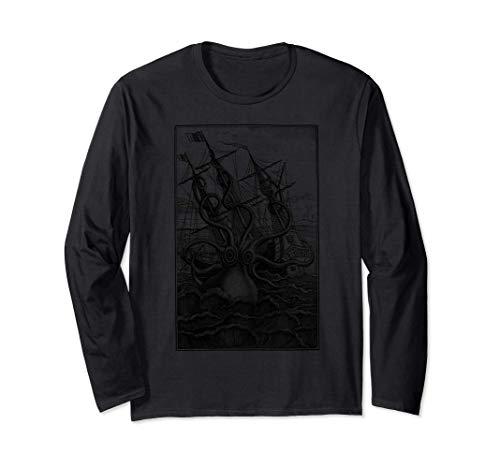 Pulpo gigante Barco pirata Calamar de vela Kraken vintage Manga Larga