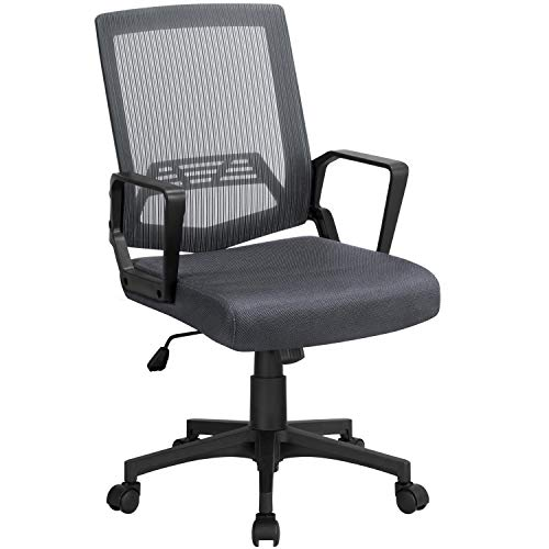 Yaheetech Office Chairs Ergonomic Executive Chair Gaming Chair Swivel Chair Task Chair with Wheels and Armrests Dark Grey