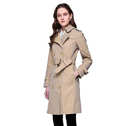 Biddtle Damen Elegant Trenchcoat Regenmantel Revers Zweireiher Jacke Mit Taillengürtel Lange Ärmel Schulterklappen Mantel,Khaki,S
