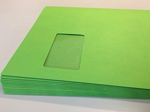 100 Briefumschläge mit laserfestem Fenster, Grün, Frühlingsgrün, Intensivgrün, Apfelgrün, C4 = 324 x 229 mm, mit Abziehstreifen, 120 g/qm, geeignet für Laserdrucker