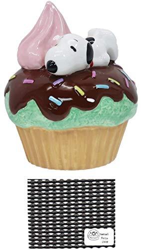 ピーナッツ スヌーピー 貯金箱 カップケーキ バンク 陶器製 当店オリジナルロゴ入り2点セット(貯金箱、すべり止めシート)