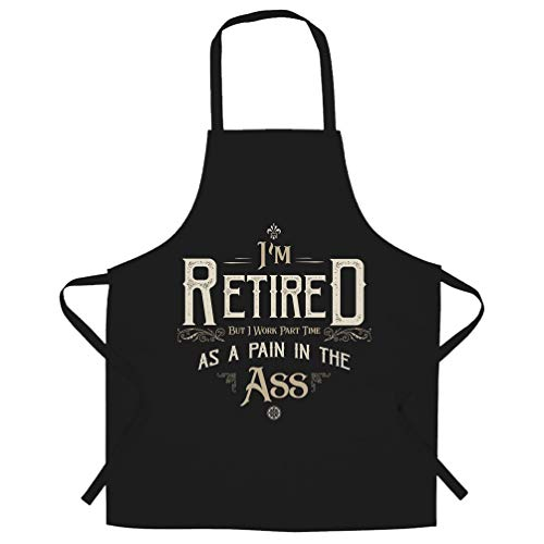 Retirement Chef's Apron I'm Retired But I Work Part Time Black One Size