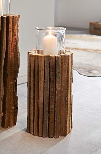 Windlichtsäule Rustikal aus recyceltem Holz, 41 cm hoch, Dekosäule, Kerzenhalter