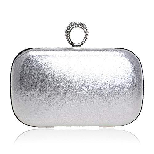 Bolso De Noche Mujeres Anillos De Dedo Diamantes Embragues De Mujer Diamantes De Imitación De Colores Mezclados Bolsos De Dama De Fiesta Cadena Larga Hombro Bolsillo Monedero-Silver_16 × 9 × 5Cm
